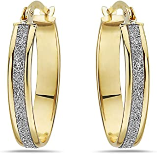 10K Solid Gold Oval Hoop Earrings With White Glitter For Women - French Lock