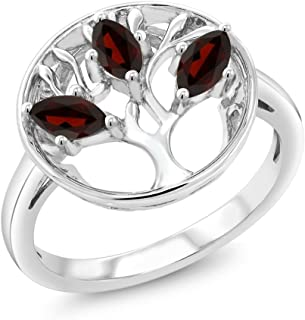 Gem Stone King 0.78 Ct Marquise Red Garnet 925 Sterling Silver 3-Stone Tree Of Life Ring (Available 5,6,7,8,9)