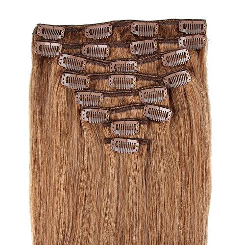 Beauty7 120g Extensions de Cheveux Humains à Clip 100% Remy Hair #8 Couleur Marron Clair Longueur 46 cm