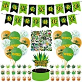 100 Pcs Weed Birthday Party Decorations, Pot Weed Leaves Birthday Party Garland Set Party Supplies with Have a Dope Happy Birthday Banner, Cake Topper, Stickers, Cupcake Toppers, Balloons