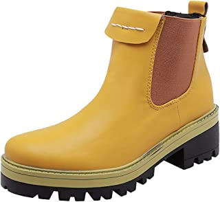 ELEEMEE Women Block Heel Chelsea Boots Slip On