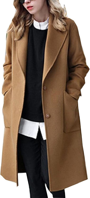 Maweisong Women's Solid Oversize Lapel Winter Outwear Cardigan Pea Coats