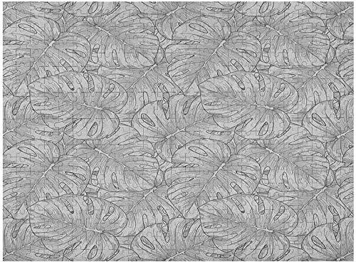 Tropisches Puzzle 1000 Stück, Regenwald Riesenblätter Pflanzen Botanische Dschungelkräuter Feng Shui Zen Bush Skizze, Grauer Staub