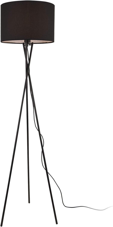 Grigio lux.pro Lampada da Terra in Stile Treppiedi Base in Metallo e Paralume in Tessuto E27 60W Piantana a Terra Alta 154 cm
