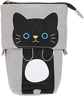 Ouniman Transformer Stand Pencil Case,Cute Cats Telescopic Stand Up Pencil Pen Holder Cosmetic Makeup Storage Bag Stationery Organizer Pouch Bag for Kids Girls Boys Students (D)