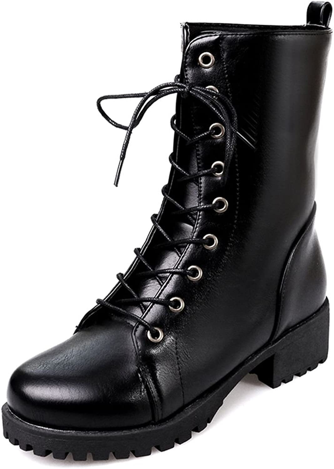 Kaloosh Sexy Women Round Toe Lace Up Combat Ankle Boots