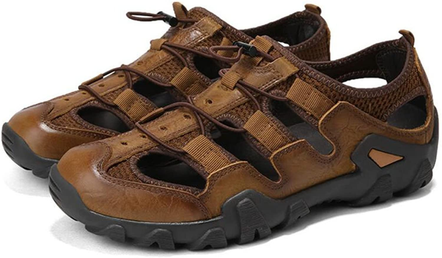 SQSMCW Men's Leather Sandals Summer Outdoor Beach shoes Fashion Flat Casual shoes Outdoor Walking shoes Driving shoes (color   Brown, Size   9 US)