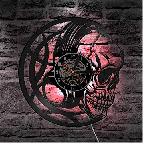 TIANZly Vintage Skull Casque Vinyle LP Record Horloge Murale rétro Noir tête de Mort Horloge Montre Musique Squelette LED Horloge Murale