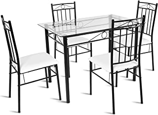 35108bd391 Tangkula 5 Piece Dining Table Set Glass Top Metal Dining Set Kitchen  Breakfast Furniture Dinning Table