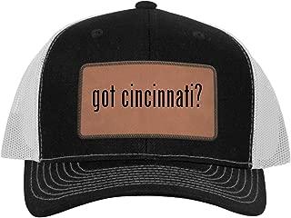 One Legging it Around got Cincinnati? - Leather Dark Brown Patch Engraved Trucker Hat