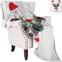 Lovii Christmas Blanket Funny Puppy Jack Russel Dog with Hilarious Sunglasses Santa..