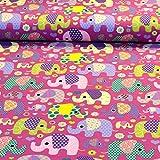 MAGAM-Stoffe Julia Bunte Elefanten pink Kinder Jersey Stoff