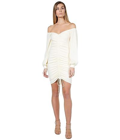 Bebe Off Shoulder Ruched Front Midi Dress