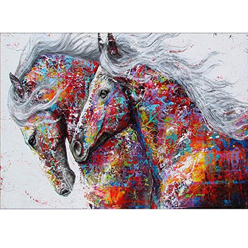 MXJSUA 5D Diamond Painting by Number Kit DIY Crystal Rhinestone Arts Craft Picture Supplies for Home Wall Decor,Colored Horses-12x16In