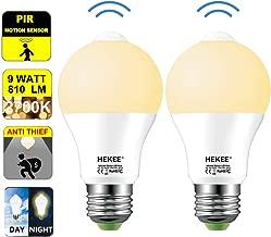Motion Sensor LED Light Bulb 9W A19 PIR Built-in IR 60W Equivalent Bright 810 Lumens E26 Base Warm White Bulbs(2 Packs)