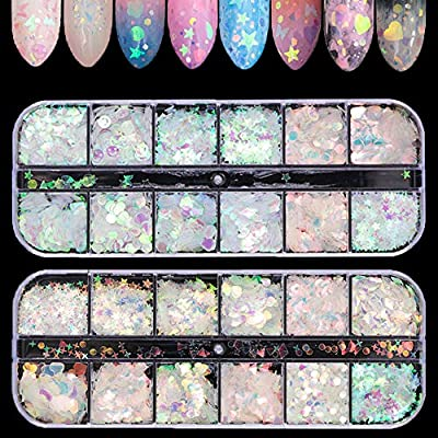Tingbeauty 2Boxes 24Colors Holographic Nail Iridescent Sequins Colorful Flakes Nail Art Sticker Glitter DIY Decals Decoration for Face Body Eyes