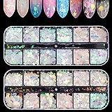 Ebanku 24 Farben Glitzer Sequin, Nagel Pailletten Glitter, Shiny Irisierende Bunte Abziehbilder Nail Art für Maniküre Gesicht Körper (2 Boxen)