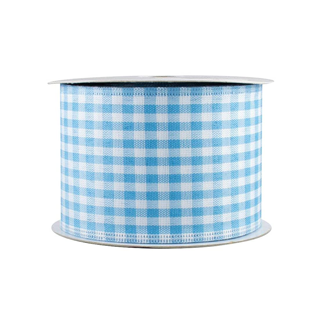 Baby Blue Gingham Wired Ribbon - 2 1/2 Inch x 10 Yards, Easter, Spring, Summer, Christmas Decor, Birthday, Rustic Wedding, Farmhouse Party, Baby Shower, Gender Reveal, Bows, Wreath, Swag, Garland