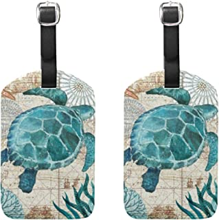 Turtle Sea World Luggage Tag Men Women Kids Cruise Ship Personalized Vintage Leather, 2 Pack