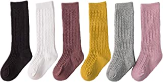 Toddler Knee High Socks - 6 Pairs Little Girls Cable Knit Cotton Stockings