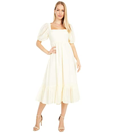 WAYF Lucca Midi Short Sleeve Gathered Dress (Cream Organza Stripe) Women