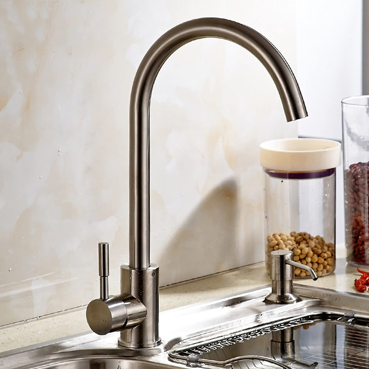 Kitchen hot and cold water faucet stainless steel dishwashing dishes pots sinks can be redated vegetable pool faucet