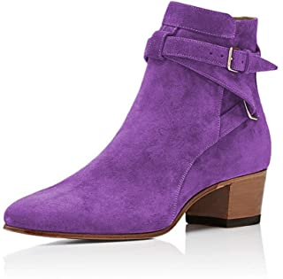 XYD Women Thick High Heel Knee High Long Boots Closed Toe Pull On Faux Suede Daily Walking Dress Booties