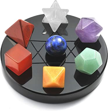 Top Plaza 7 Chakra Healing Crystals Kit Sacred Geometry Platonic Solids Crystals Reiki Tumbled Stones Set Lucky Decoration W/Black Obsidian Stand