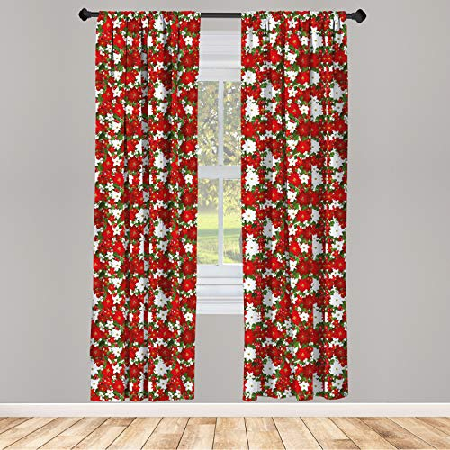 Ambesonne Christmas Window Curtains, Poinsettia Flower Holly and Mistletoe in Natural Traditional Combination, Lightweight Decorative Panels Set of 2 with Rod Pocket, 56' x 84', White Green
