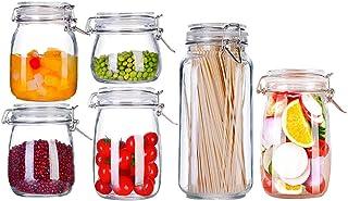 Contenedor Almacenamiento Alimentos 1 Juego De 6 Botella Vidrio Hermética con Cerradura De Acero Inoxidable Tarro Miel Condimento De Cocina Cereales Frijoles Organizador Caja Frutas Verduras