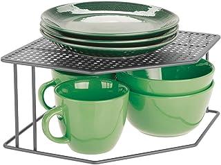 mDesign Baldas de cocina – Soporte para platos para rincones de encimeras e interiores de armarios – Estante separador con dos alturas para aprovechar el espacio al máximo – gris