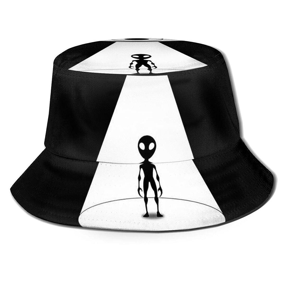 直立地雷原死Aiwnin UFO車から降りる エイリアン 漁師の帽子 サンハット 日よけ帽 紫外線保護 釣り 登山 農作業 通気性がいい