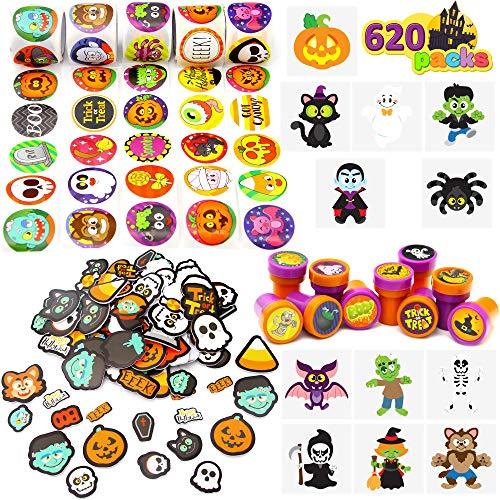Más de 600 Pcs Kit Surtido de Manualidades de Halloween, incluyen Tatuajes Temporales, Pegatinas de Espuma, Sellos, para Truco o Trato, Regalos de Fiesta de Halloween