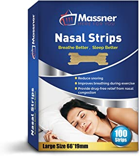 Nasal Strips 100 Large Anti-Snoring Breathing Aid for Fast Relief. Instantly Stops Snoring for Better Sleep, Less Congestion. Improved Air Flow, Gentle Spring Like Action. 66x19mm, Big 3 Month Supply