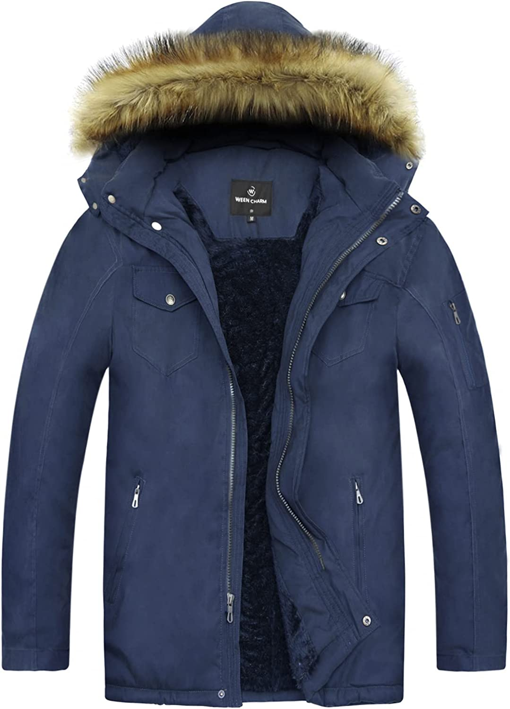 WEEN CHARM Men's Winter Parka Jacket Military Warm Fleece Coat with Detachable Hood Outwear