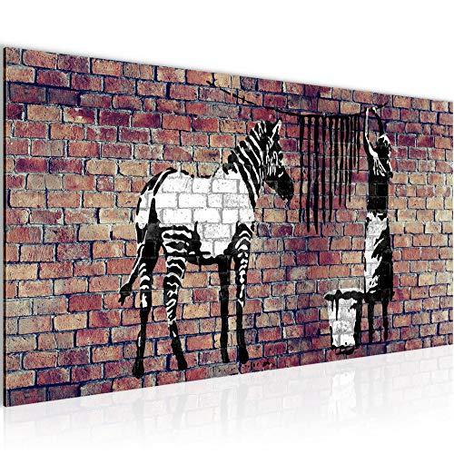 Bilder Banksy Washing Zebra Wandbild Vlies - Leinwand Bild XXL Format Wandbilder Wohnzimmer Wohnung Deko Kunstdrucke Braun 1 Teilig - MADE IN GERMANY - Fertig zum Aufhängen 012912b