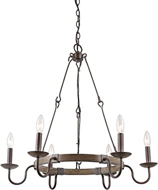 LOG BARN Rustic Farmhouse Chandelier, Dining Room Lighting Fixtures Hanging Metal Finish, Wagon Wheel Pendant with French Country Style Candles for Kitchen Islands