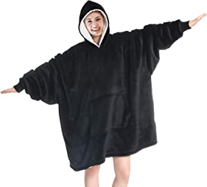 Touchat Wearable Blanket Hoodie, Oversized Sherpa Blanket Sweatshirt with Hood Pocket and Sleeves, Super Soft Warm Comfy Plush Hooded Blanket for Adult Women Men, One Size Fits All (Black)