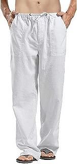 Small Ella Men Loose Pants Autumn Fashion Solid Streetwear Trousers Casual White Linen Elastic Waist Straight Mens Pants