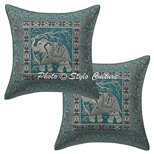 Stylo Culture Cojines Decorativos étnicos para la Cama Mar Verde Brocade Jacquard Paisley Almohada Decorativa Fundas de cojín Elefante Tradicional Cuadrado Cojines de 40x40 cm (Set de 2 Piezas)