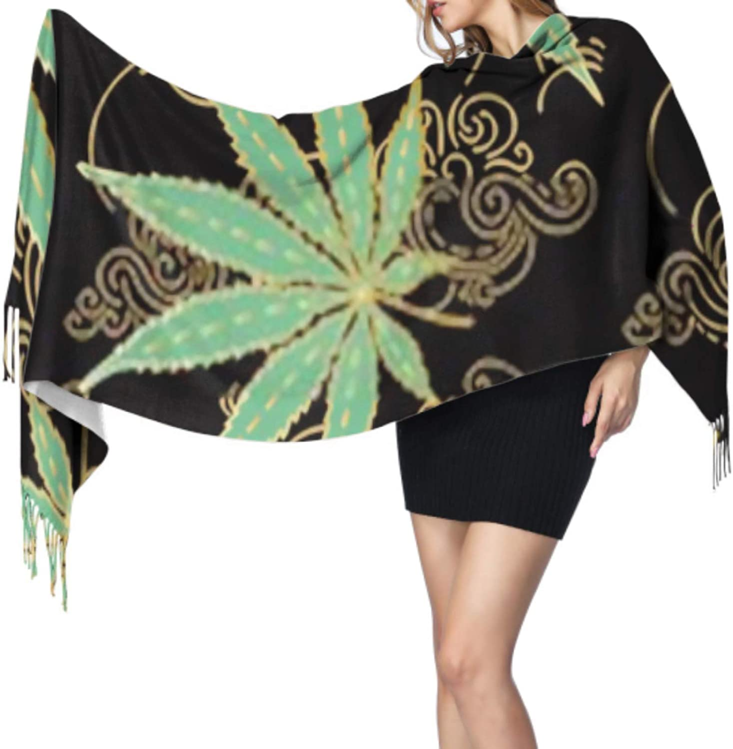 ZQYON Super Soft Classic Cashmere Feel Winter Scarf, Cannabis Marijuana Leaves Green Gold Hand Fashion Long Tassel Scarves for Men and Women