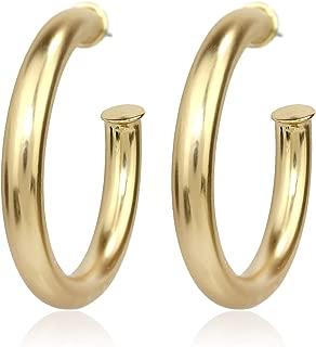 Lightweight Chunky Thick Hoop Earrings Round Tube Hoop Earrings for Women