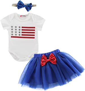 Toddler Baby Girls 4th of July Independence Day T-Shirt Top + Tutu Skirt Set Outfits with Headband