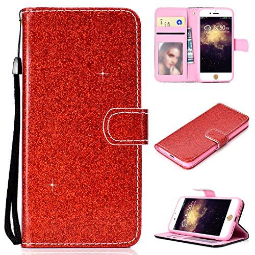 Compatible con iPhone 8 Carcasa Magnético Rojo, Brillante Glitter Libro Cuero Carcasa Billetera Tapa Bolsillo Ranuras de Tarjeta con Función de Soporte Flip Glitter Case Compatible con iPhone 7