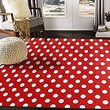 ALAZA Red White Polka Dot Area Rug for Living Room Bedroom 5'3'x4'
