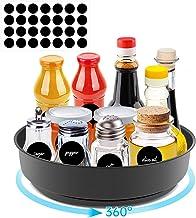 Senbos Lazy Susan, metalowy talerz obrotowy, 25 cm, na przyprawy i butelki, obrotowy uchwyt na przyprawy, może służyć do s...
