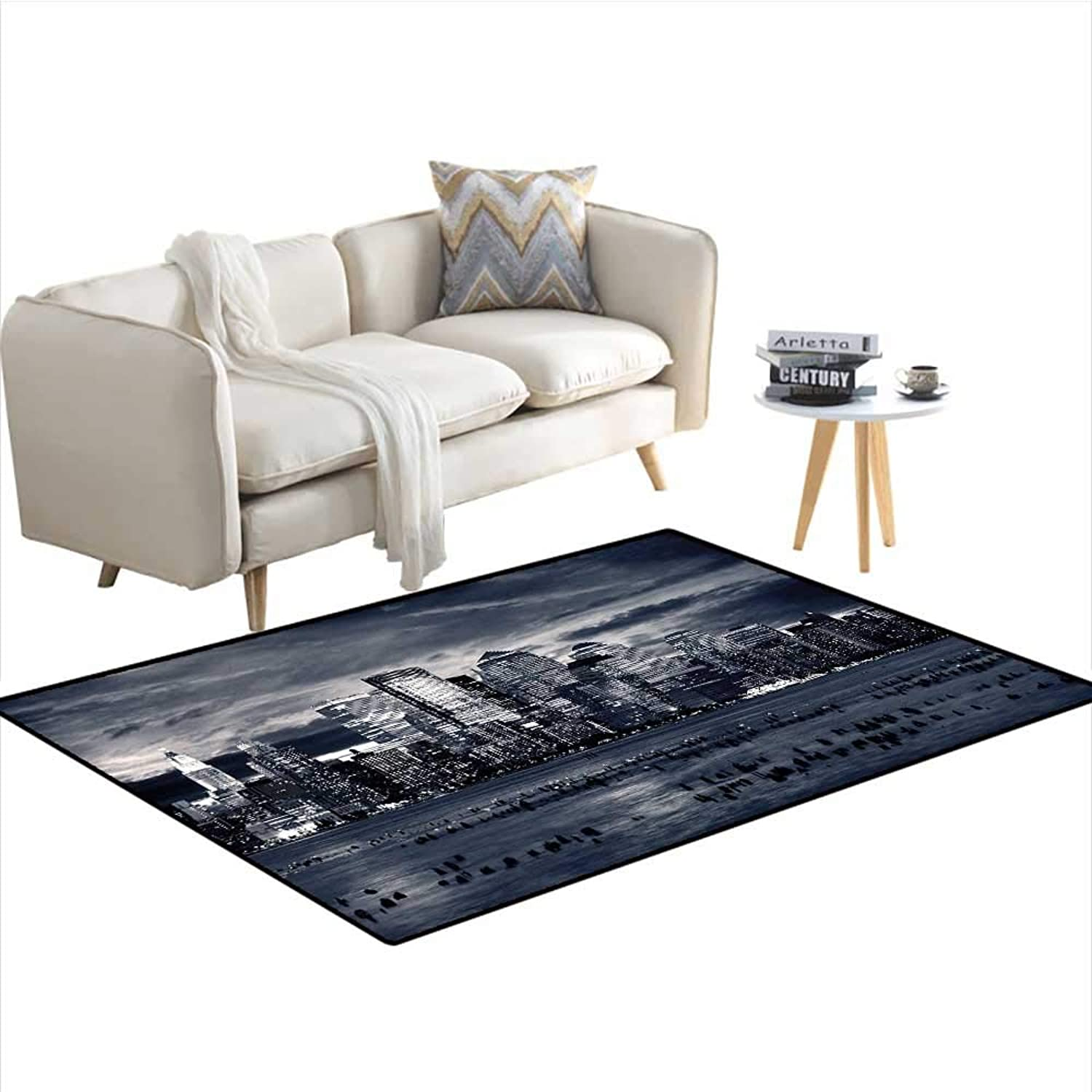 City Indoor Outdoor carpetDramatic View of New York Skyline from Jersey Side Clouds BuildingsAnti-Skid Charcoal Grey Black White W40 x L63