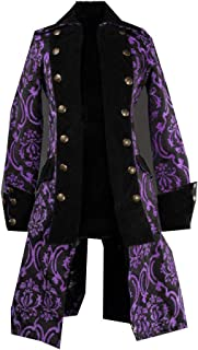 neveraway Men Mid Long Medieval Vintage Double-Breasted Jacquard Jacket