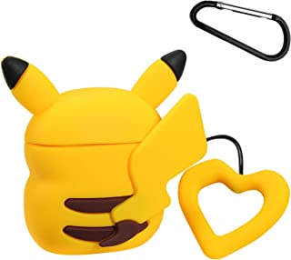 Joyleop(Pika Back) Compatible with Airpods 1/2 Case Cover,3D Cute Cartoon Animal Funny Fun Cool Kawaii Fashion,Silicone Designer Airpod Character Skin Keychain,Girls Boys Teens,Case for Air pods 1&2