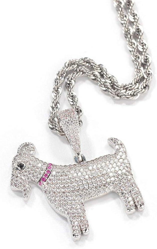 Iced Out Zircon Demon Goat Pendant Necklace For Men Women Fashion Hip Hop Rap Party Jewelry Gift 60cm